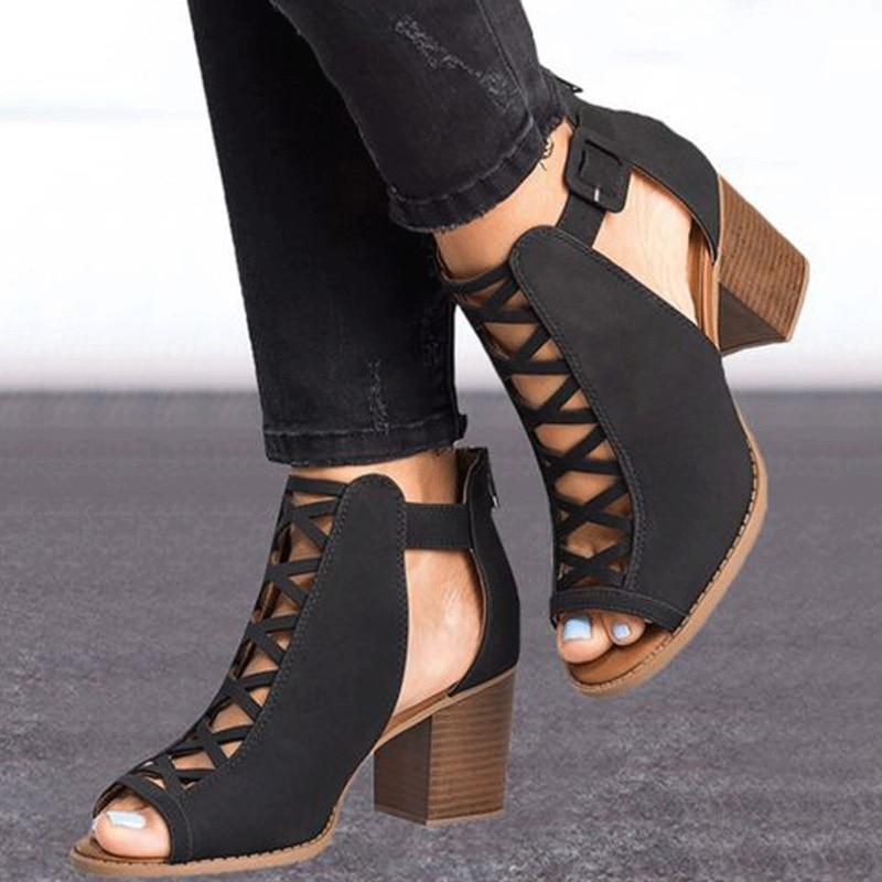 xinse Designers Luxe Chaussures Peep Orteil Sandalia D'été Sandales 2019 Vtota Hauts Feminina De K79 Bloc Talons Noir Femmes Nouveau 0wOP8nk