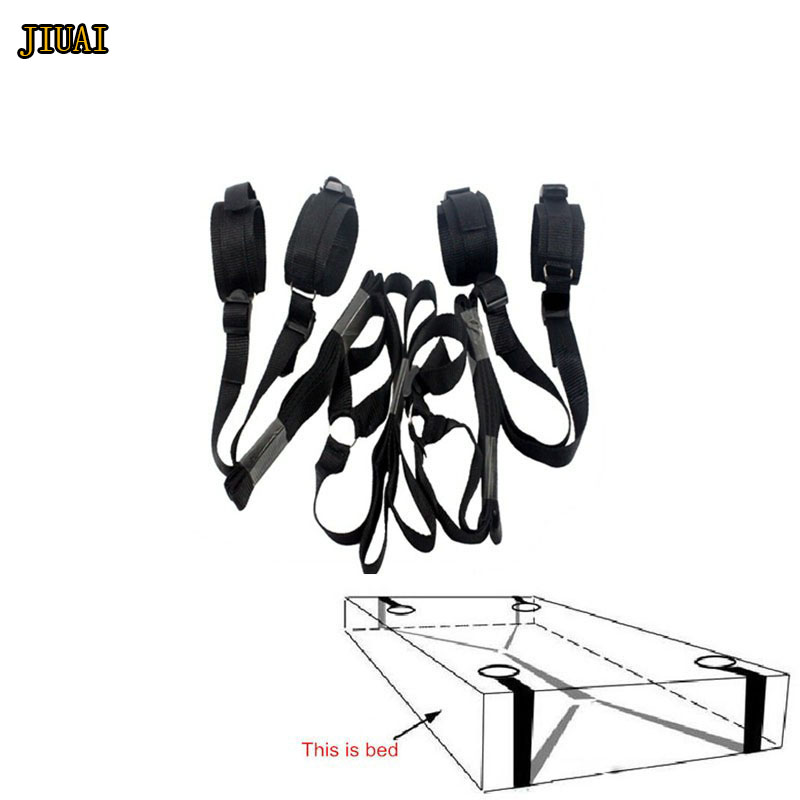 Under Bed Nylon Strap Four Detachable Cuffs with Blindfolded Role Play Set