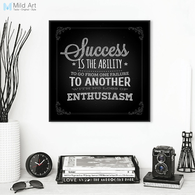 Vintage Retro Black White Inspire Typography Success Quotes Poster Prints  Wall Art Picture Office Decor Canvas