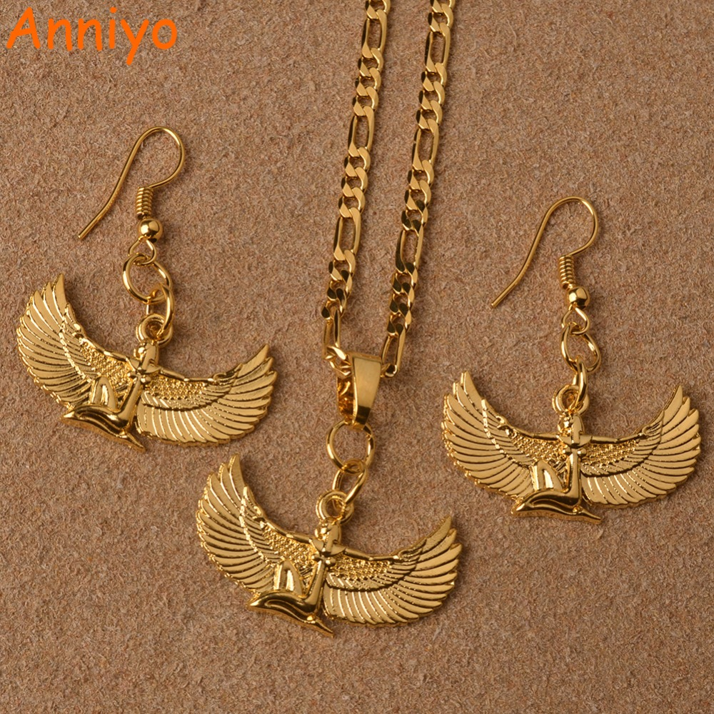 Anniyo Fab Egyptian Goddess Necklace Earrings sets Gold Color Wing Necklace Ankh Bib Wicca Pagan Jewelry Egypt Religion #098706 anniyo egyptian queen nefertiti pendant