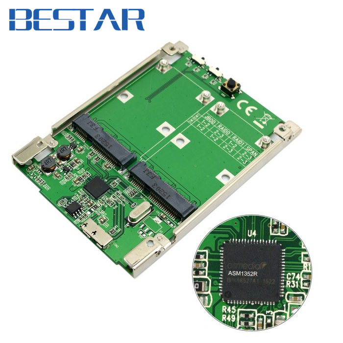 все цены на 2.5 inch Dual Mini PCI-E pcie pci express pci-express mSATA SSD RAID Adapter to USB 3.1 Hardware Raid Card Raid0 Raid1 or PM онлайн