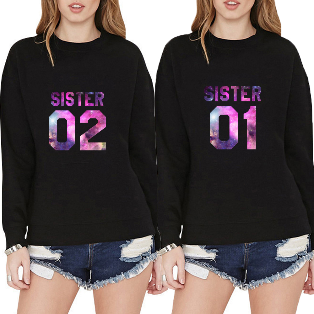 Sister 01 02 Best Friends BFF Letters Print Women Sweatshirt Jumper Casual Hoody Lady Funny Hipster Black White Autumn Pullover
