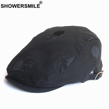 SHOWERSMILE Men Flat Cap Embroidery Skull Cotton Beret Hats Male Black Casual Solid Spring Summer Adjustable Driving Ivy Caps