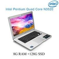 """מקלדת ושפת os זמינה 8G RAM הכסף 128g SSD אינטל פנטיום 14"""" N3520 מקלדת מחברת מחשב ניידת ושפת OS זמינה עבור לבחור (1)"""