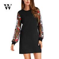 Women Botanical Embroidered Mesh Sleeve Longline Pullover Elegant Black Long Sleeve Lantern Sleeve Dress Drop Shipping