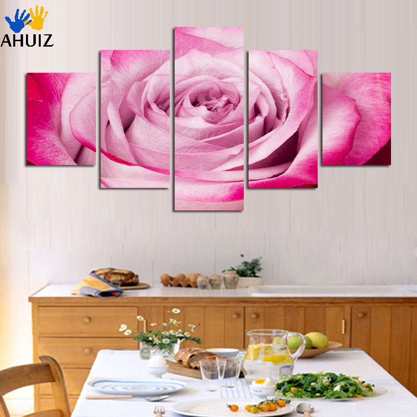 2018 hot sale 5 Piece Modern Art powder Red roses Flower Home Decorative Picture Paint on Canvas Modular Prints Unframed A106