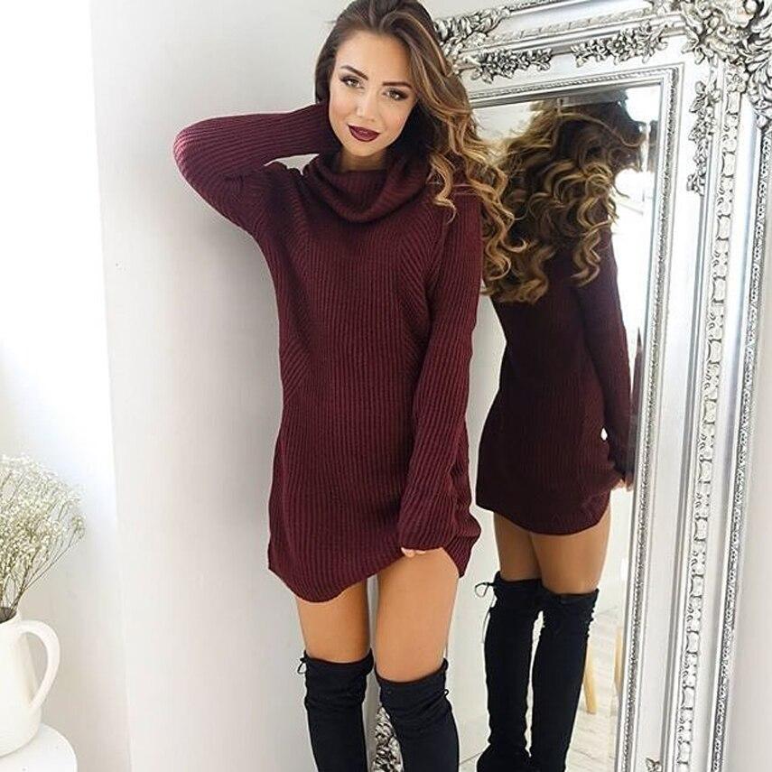 Nuevo invierno mujeres cuello alto Maxi suéter Tops moda suéteres tejidos de manga larga jerseys elegante partido largo para damas