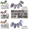 1 Pc BORN PRETTY 12*6cm Rectangle Nail Stamping Template Image Plate L040/41/42/43/45 Available
