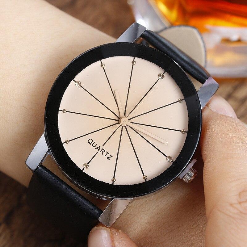New Geneva Men Women Quartz Wristwatc Fashion Casual Couple Watches Leather Watch Band  Round Case Black White Clock Wristwatch