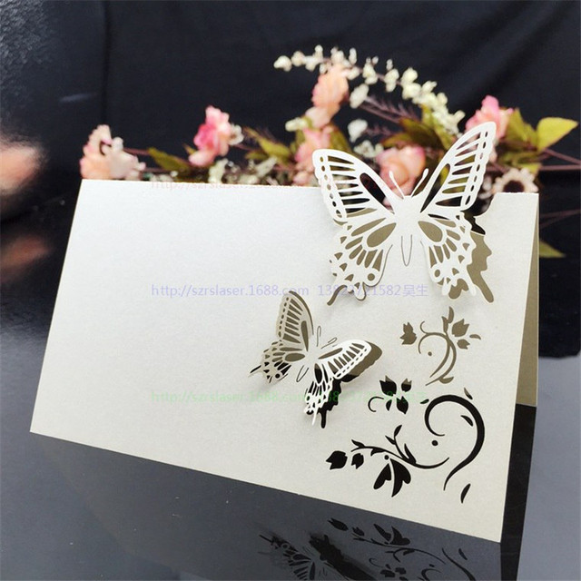 100 pcs place name card butterfly wedding decorations pearlscent paper cards party festive event table name