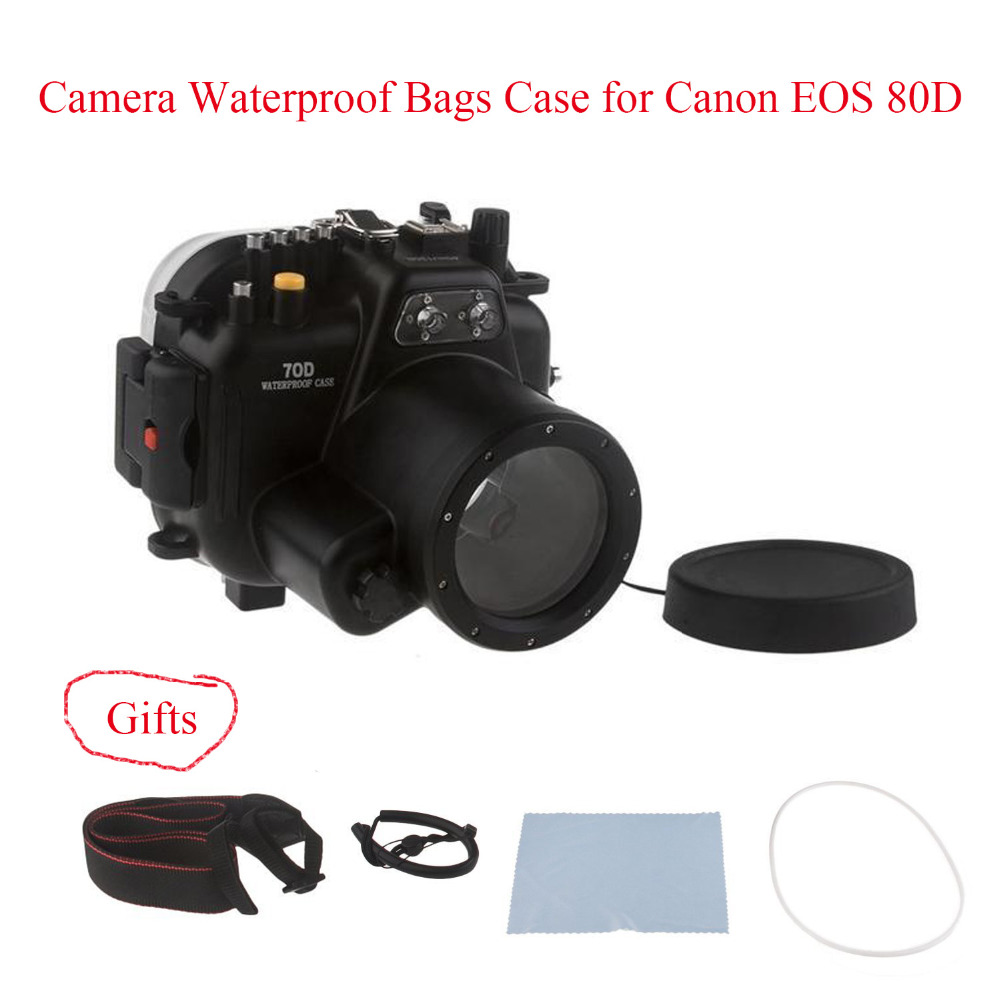 Meikon 40M/130ft Underwater Camera Housing Case for Canon EOS 80D,Camera Waterproof Bags Case for Canon EOS 80D Camera meikon 40m 130ft underwater waterproof camera housing case for sony a6000 16 50 lens red filter