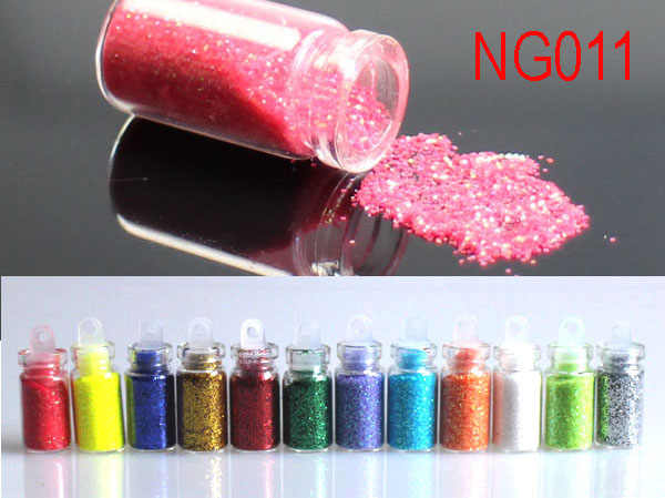 Fashion 12 Colors Mini Bottles Nail Art Glitters Dust Powders For UV GEL Acrylic Powder Nail Art Decoration #NG011