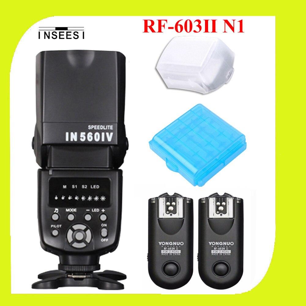YONGNUO RF-603 II N1 Wireless Flash Trigger РФ 603 II и INSEESI IN-560IV Вспышка Speedlite для Nikon D800 D700 D300 D2X D2H D200