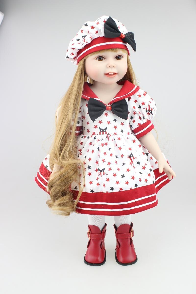 45 cm Réaliste Vinyle Américain bébé Bambin Poupées Bébé Jouets Filles princesse Brinquedos Kid Enfant D'anniversaire De Noël Cadeaux Princesse