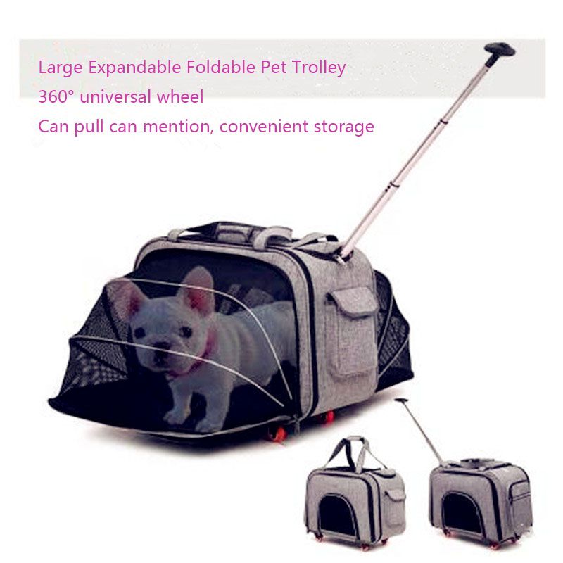 2018 Newst DODOPET Large Expandable Collapsible Trolley Dog Grate 360 degree Four Wheel Breathabale Pet Carrier Portable Pet Bag