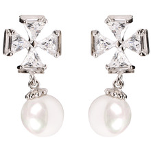 Stud Earring Four-leaf Clover Rhinestone Chain Earrings Pearl Anniversary Gift For Lover Free Shipping