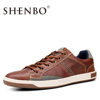 SHENBO Brand New Style Retro Style Men Shoes High Quality Men Casual Shoes Lace Up Casual