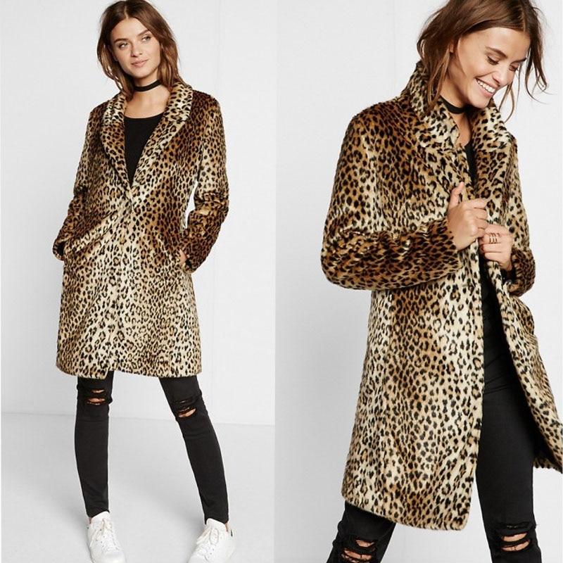 Autumn and winter faux fur coat Leopard print long faux fur grass female coat plus size 5xl-in Faux Fur from Women's Clothing    1
