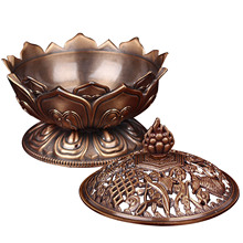 Behokic Holy Tibetan Lotus Shape Aromatherapy Alloy Bronze Mini Incense Burner Incensory Holder Stove Craft for Home Decoration