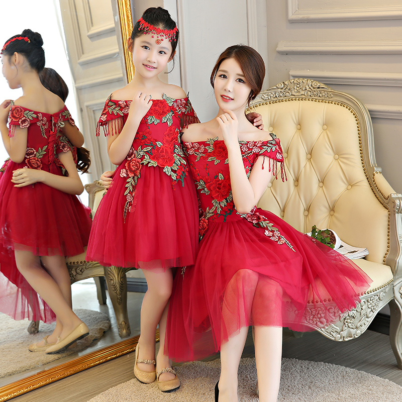 Mother Daughter Dresses for Wedding Evening Off Shoulder Dress Mommy and Me Clothes Mama Girl Mom and Daughter Dress for FamilyMother Daughter Dresses for Wedding Evening Off Shoulder Dress Mommy and Me Clothes Mama Girl Mom and Daughter Dress for Family