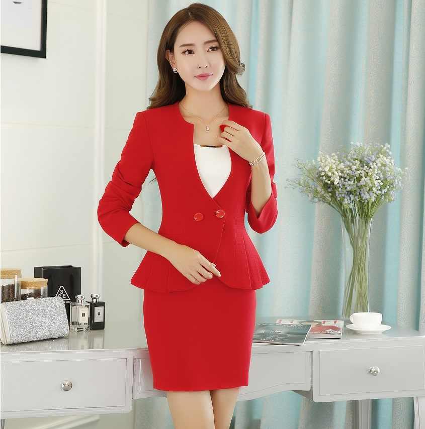 054b96356642 Формальные профессиональные с длинным рукавом Элегантный красный тонкий мода  формальный офисный женский стиль Бизнес костюмы с