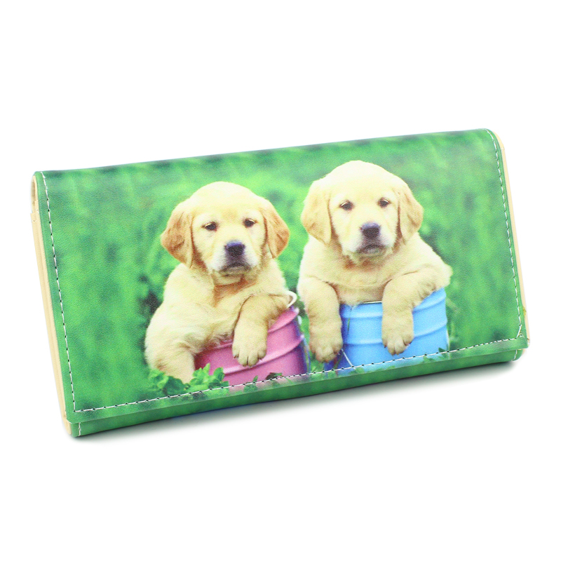 Lovely Dogs Prints Lady Purses Women Wallets Money Bags Female Coin Purse Pocket Cards ID Holder Clutch Dog Bag Notecase Wallet cute girl hasp small wallets women coin purses female coin bag lady cotton cloth pouch kids money mini bag children change purse