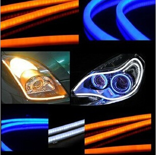 2pcs x 30cm LED Daytime Running Light Flexible Switchback Strip Tube Angel Eye DRL Headlight white yellow red blue 2pcs 30cm angel eye daytime running light tube soft flexible car styling led strip drl white yellow blue red turn signal lights