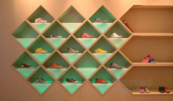 MDF Plywood Materials Spotlight Shoe Wall Display Cube