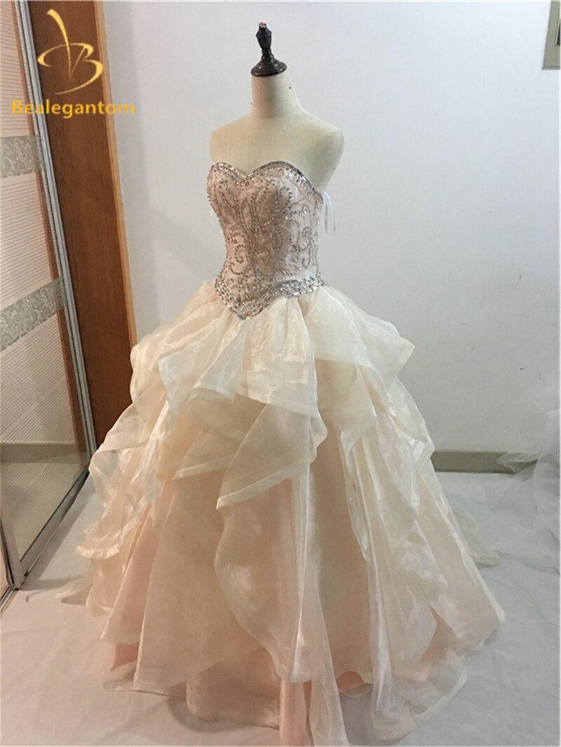 2018 Bella Champagen Coral Abiti Quinceanera Con Perline Cristalli Ruffles Organza Sweet 16 Dress Abiti De 15 Anos Qa1062 Adottare La Tecnologia Avanzata