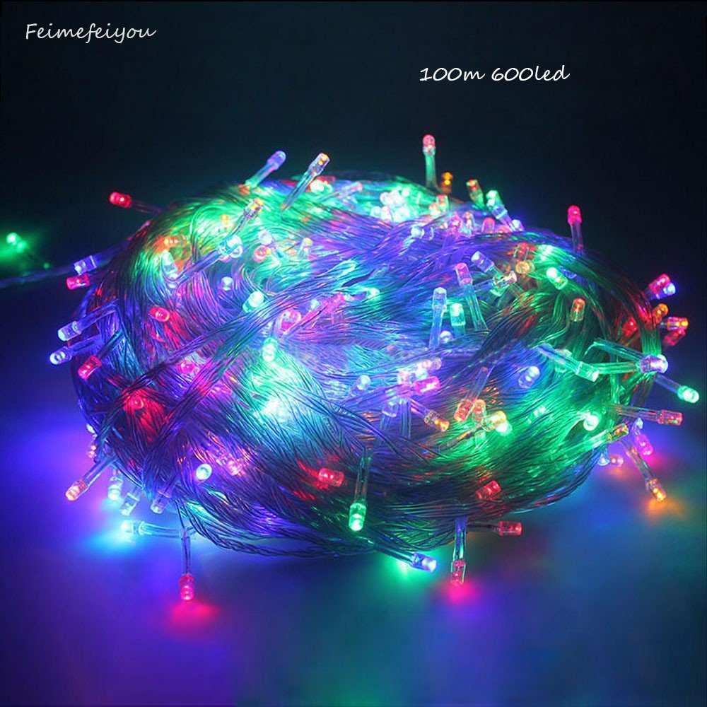 100M 600 Fairy LED String Light Outdoor Waterproof AC220V Chirstmas String Garland For Xmas Wedding Christmas Party Holiday