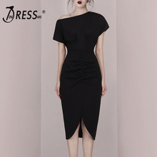INDRESSME 2019 New Fashion Women Slash Neck Short Sleeves Split Asymmetrical Hem Elegant Office Lady Sheath Mid-Calf Dress Black