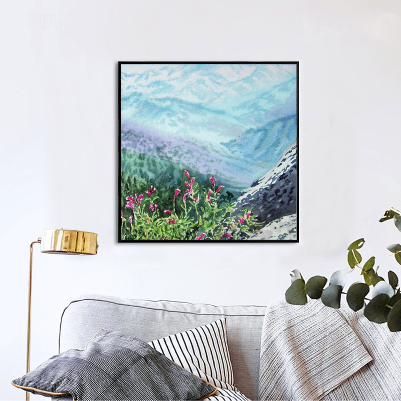 <font><b>Elegant</b></font> 1PCS Canvas Modern Wall Painting Cute Pink Flower Mountain <font><b>Home</b></font> <font><b>Decor</b></font> Art Picture Impressionist Canvas Painting Prints