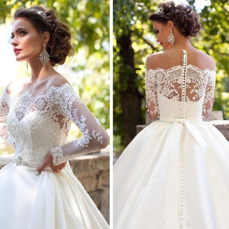 Modest Country Wedding Dresses 2019 Robe De Mariage Long Sleeve Sheer Neck Buttons With Ribbon Vestido De Novia Bridal Gowns
