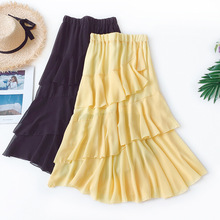 AcFirst Summer Black Yellow Women Skirts High Waist Pleated Mid-Calf Long Skirt Asymmetrical Chiffon Clothing Plus Size Beach plus size pleated side slit asymmetrical skirt