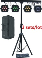 2Xbags led par kits 4x7x10W 4in1 RGBW led slim flat par lights set with light stand DMX strobe party laser stage club lighting
