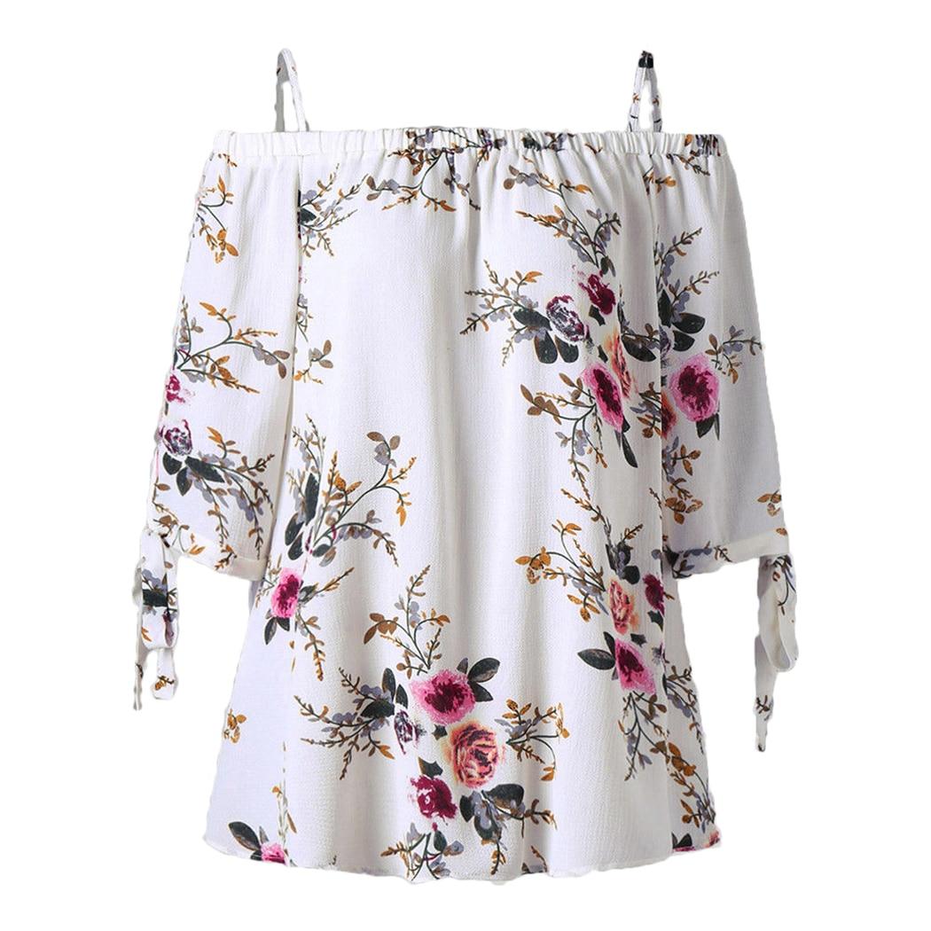 Summer Women Tops Off Shoulder Blouses Strap Boho Floral Printed Blouse Lace Up Short Sleeve Loose Ladies Office Shirt Blusas Z4