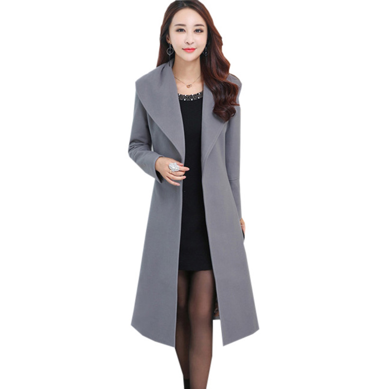 2017 New Winter   Trench   Coat Women Long Slim   Trench   Coat Elegant Female Classic Designer Belt High Quality Lady Overcoat RE0169
