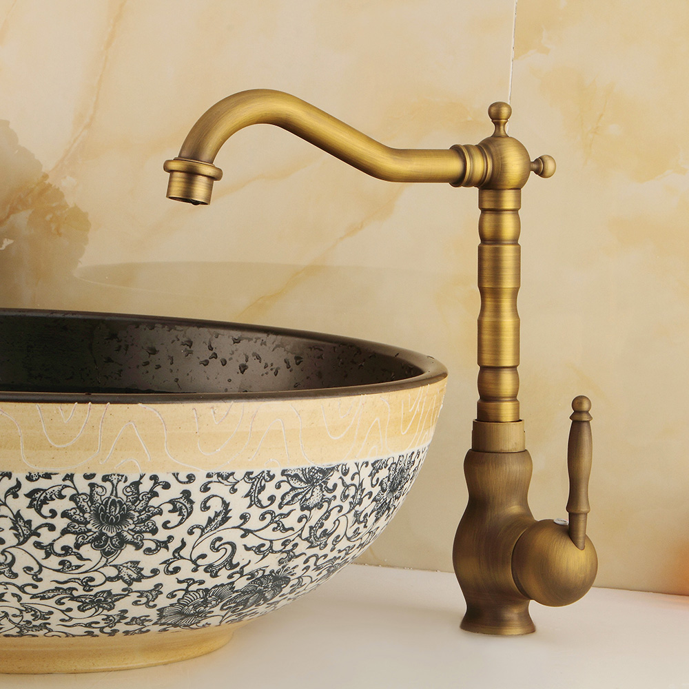 Retro Brass Bathroom Kitchen Faucets Single Holder Single Hole Rotatable Faucet Hot&Cold Water Mixer Tap With Faucet Aerator