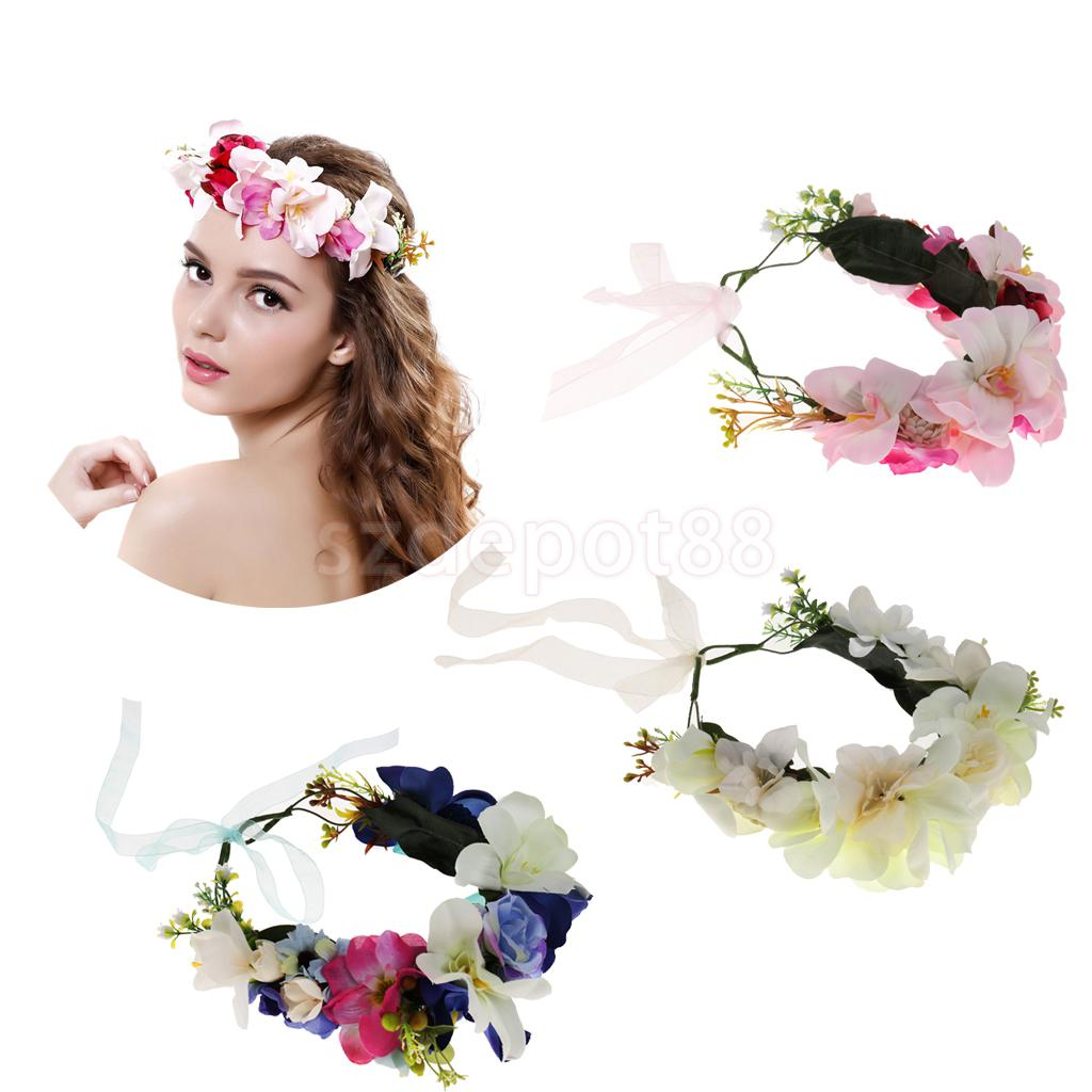 Fashion Women Girl Flower Hair Band Adjustable Wedding Party ...