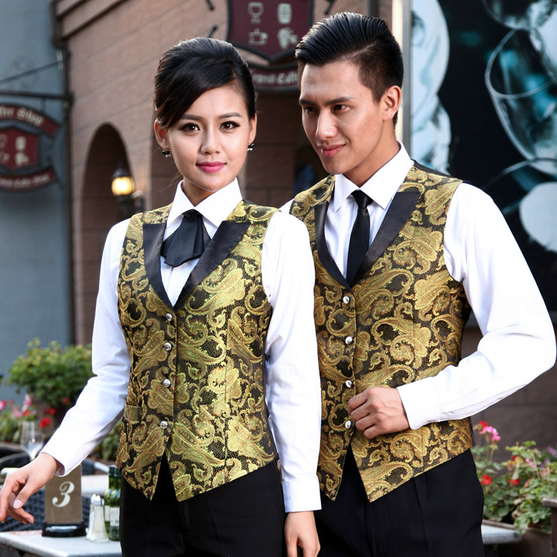 Hotel Uniform Autumn Winter Ktv Restaurant Cafe Waiter Vest Kitchen Waitress Worker Outfit Hotel Shop Clothing 1 Pcs Vest