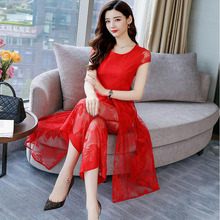 Lace wide leg pants suit female two sets of summer new retro gentle wind lady was thin fashionable free shipping