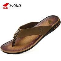 Z. Suo 2017 להעיף מגניב קיץ כפכפי עור גברים באיכות גבוהה נעלי סנדלי זכר עיסוי Sapato נעלי בית החוף Masculino