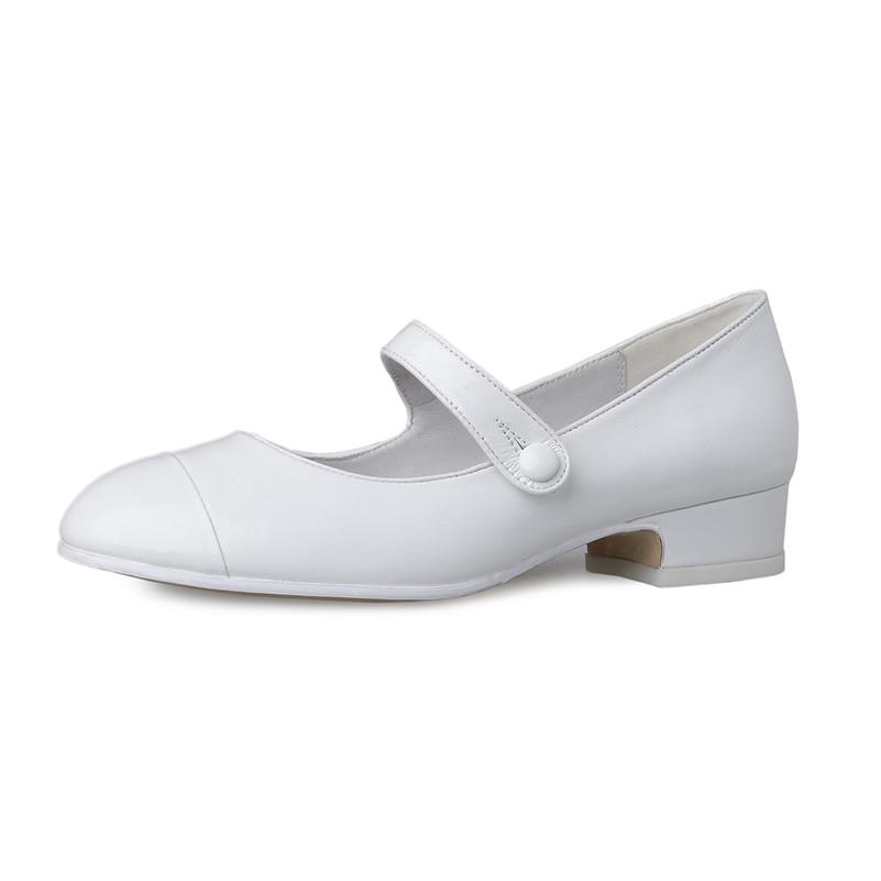 FEDONAS nowy mody pompy Mary Jane srebrny biały Wedding Party buty kobieta grube obcasy wiosna lato nowe buty kobiet pompy w Buty damskie na słupku od Buty na  Grupa 2
