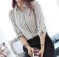 Plus Size XXL Korean Slim Long Sleeve OL Black White Striped Chiffon Blouses Women Tops Career Shirt Female Chiffon Shirt Ladies