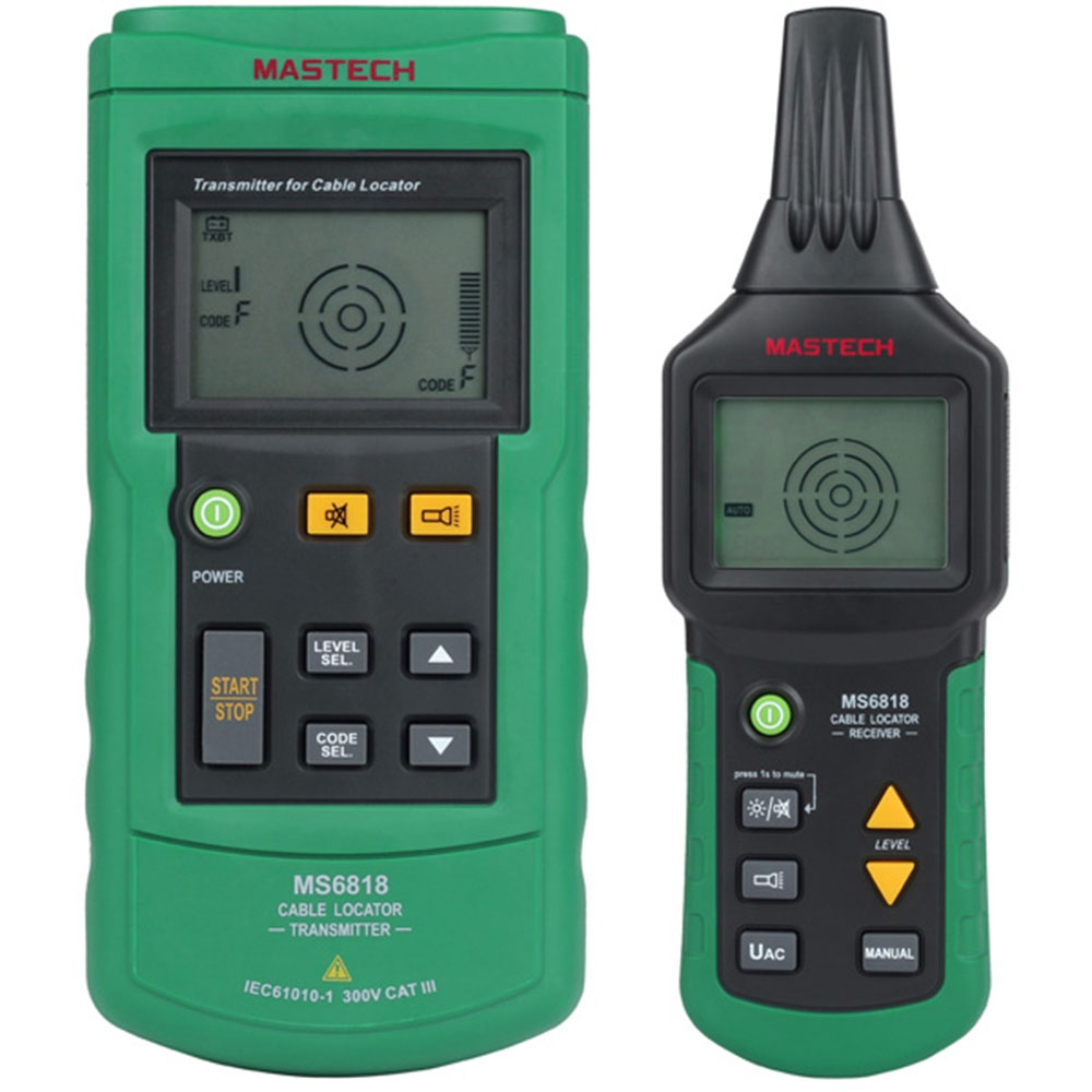 MASTECH MS6818 Advanced Wire Cable Tester Cable Tracker Multi-function Detector 12~400V Pipe Locator Meter Pressure Transmitter mastech ms6818 portable instruments professional cable locator wire tracker pipelines detector tester ac dc voltage 12 400v