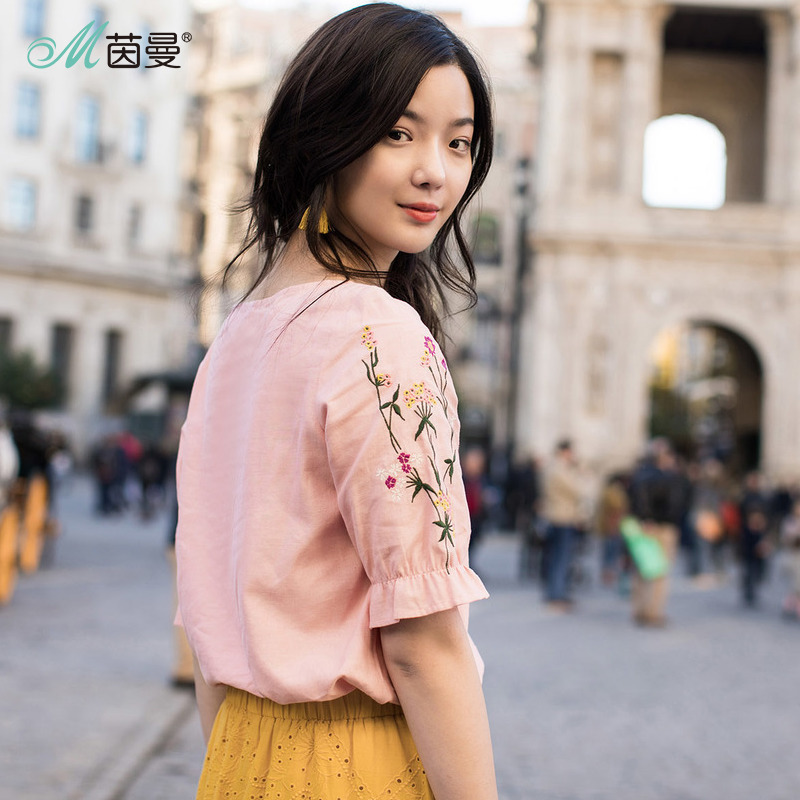 Inman Summer 2018 Woman Cotton Blouse Lotus Leaf Short Sleeve Tops Causal Embroidery Fresh Pink Woman Blouse 1