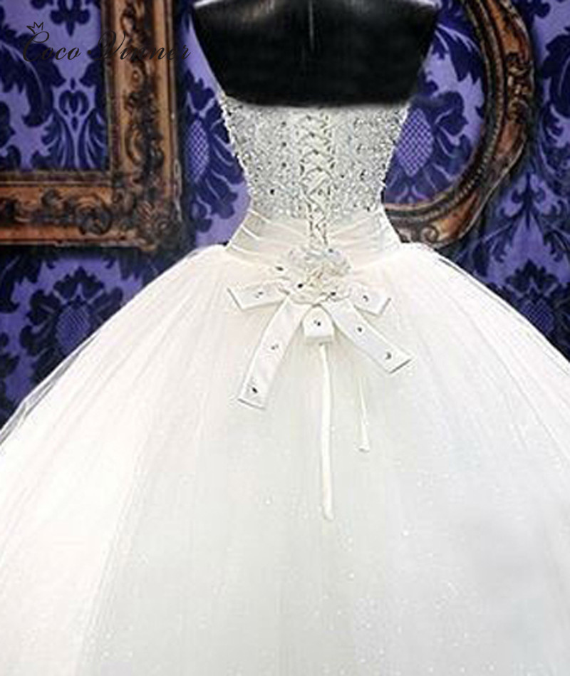 Beautiful Crystal Beading Ball Gown Arab Wedding Dress 2019 robe de mariee Bride Dress Tulle Wedding Gown WX0080