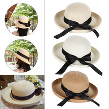 New HOT Summer Womens Straw Hat long Bowknot Flanging Sun Outdoor Foldable Beach Panama cap