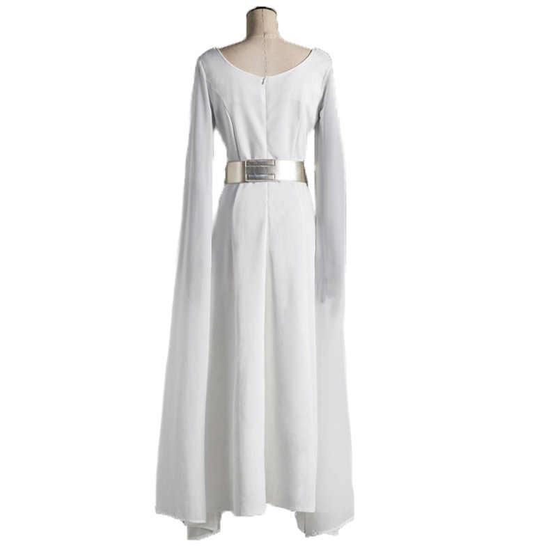 Princess Leia Organa SOLO คอสเพลย์สีขาวชุดยาวชุดวิกผมผู้หญิง Star Wars Cos เครื่องแต่งกายฮาโลวีน Carnival COSPLAY เครื่องแต่งกาย