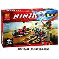 2016 Nova BELA 10444 Moto Ninja perseguição Building Blocks Set 3 Em 1 Lâmina Edificável de Kai Figuras Compatível
